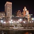 Providence Rhode Island Skyline At Night by Alex Grichenko