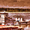 Riverboat - Mississippi River - Push That Barge by Barry Jones