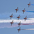Red Arrows Flying In Formation by Steve Ball