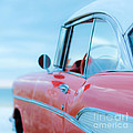 Red Chevy '57 Bel Air at the beach Square by Edward Fielding