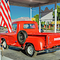 Red Dodge Pickup Truck Parked In Front by Panoramic Images