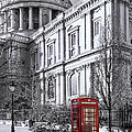 Red Phone Box At St Pauls Cathedral London by Philip Pound