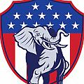 Republican Elephant Mascot Usa Flag by Aloysius Patrimonio