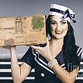 Retro Maritime Portrait. Woman In Sailor Fashion by Jorgo Photography - Wall Art Gallery
