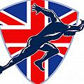 Runner Sprinter Start British Flag Shield by Aloysius Patrimonio