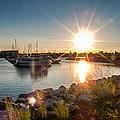 Sailboat Pier In Lake Michigan Nature Scenary Near Racine Wisconsin by Jiayin Ma