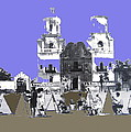 San Xavier Mission Sketched By Art Students C. 1930 Tucson Arizona by David Lee Guss
