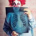 Scary Clown Peeking Behind X-ray. Funny Bones by Jorgo Photography - Wall Art Gallery