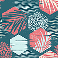 Seamless Exotic Pattern With Palm by Nadezda grapes