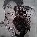 Selfie Pencil Sketch by Aanchal Jain