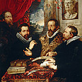 Selfportrait With Brother Philipp Justus Lipsius And Another Scholar by Peter Paul Rubens