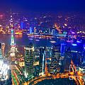 Shanghai Pudong Skyline by Fototrav Print