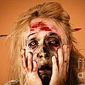 Shocked Horror Halloween Zombie With Hands Face by Jorgo Photography - Wall Art Gallery