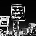 signpost for Las Vegas monorail station on las vegas boulevard Nevada USA by Joe Fox