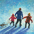 Sledding With Dad by Vickie Wade