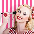 Smiling Makeup Girl Using Cosmetic Powder Brush by Jorgo Photography - Wall Art Gallery