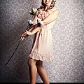 Smiling Retro Floral Girl In Elegant Pink Fashion by Jorgo Photography - Wall Art Gallery