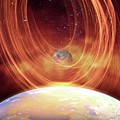 Solar Flare Hitting Earth by Victor Habbick Visions/science Photo Library