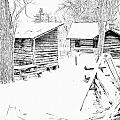 Oliver Miller Homestead / Outbuildings In The Snow by Digital Photographic Arts