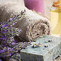 Spa With Lavender And Towel by Mythja  Photography