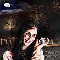 Spooky Girl With Silver Service Bell In Graveyard by Jorgo Photography - Wall Art Gallery