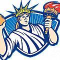 Statue Of Liberty Throwing Football Ball by Aloysius Patrimonio