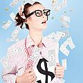 Successful Female Business Superhero Winning Money by Jorgo Photography - Wall Art Gallery