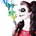 Sugar Skull Girl Blowing On Smoking Gun by Jorgo Photography - Wall Art Gallery
