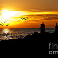 Sunset At South Jetty by Anne Kitzman