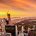 Sunset Over Central Park And The New York City Skyline by Vivienne Gucwa