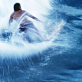 Surfer Carving On Splashing Wave, Interesting Perspective And Blur by Carl Shaneff
