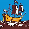 Tall Sailing Ship Retro Woodcut by Aloysius Patrimonio