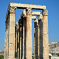 Temple Of Olympian Zeus And Acropolis In Athens by George Atsametakis