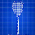 Tennis Racket Patent 1887 - Blue by Stephen Younts