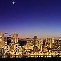The Moon And Venus Over Honolulu by Jason Chu