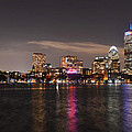 The Prudential Lit Up In Red White And Blue by Toby McGuire
