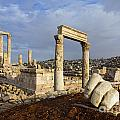 The Temple Of Hercules And Sculpture Of A Hand In The Citadel Amman Jordan by Robert Preston