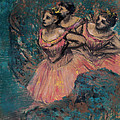 Three Dancers In Red Costume by Edgar Degas