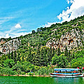 Tourboat Stops By Ancient Tombs In Daylan-turkey  by Ruth Hager