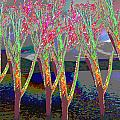 Trees Around Faal Season  Digitally Painted Photograph Taken Around Poconos  Welcome To The Pocono M by Navin Joshi