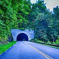 Tunnel Through Mountains On Blue Ridge Parkway In The Morning by Alex Grichenko