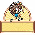 Turkey Run Runner Side Cartoon Isolated by Aloysius Patrimonio