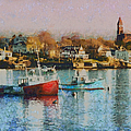 Two Lobster Boats On Marblehead Harbor With A Red Sky by Jeff Folger