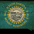 Usa American South Dakota State Map Outline With Grunge Effect F by Matthew Gibson