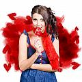 Valentines Day Woman Eating Heart Candy by Jorgo Photography - Wall Art Gallery