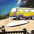 Van And Surf Board At Beach by Jorgo Photography - Wall Art Gallery