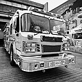 Vancouver Fire Rescue Services Truck Engine Outside Hall 2 In Downtown Eastside Bc Canada by Joe Fox
