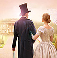 Victorian Couple Walking Towards A Country Estate by Lee Avison