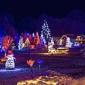 Village In Christmas Lights Panoramic View by Brch Photography