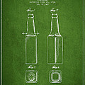Vintage Beer Bottle Patent Drawing From 1934 - Green by Aged Pixel